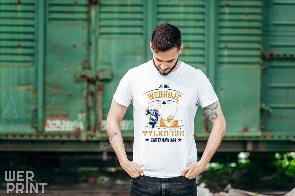 """Koszulka """"Wędkowanie to czas na myślenie"""" - Koszulki wędkarskie"""