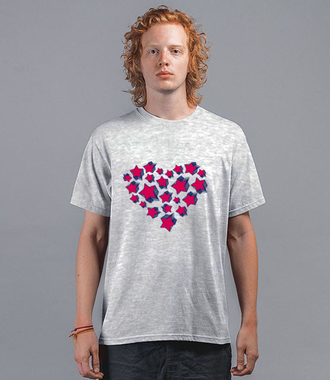 Serce unieść do gwiazd  - Koszulka z nadrukiem - na Walentynki - Męska