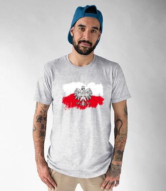 Biało i czerwono na tle - Koszulka z nadrukiem - Patriotyczne - Męska