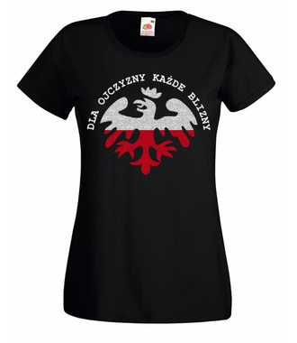 Ojczyzna, krew i blizna - Koszulka z nadrukiem - Patriotyczne - Damska