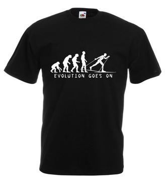 Ewolucja. Narty górą. - Koszulka z nadrukiem - Sport - Męska