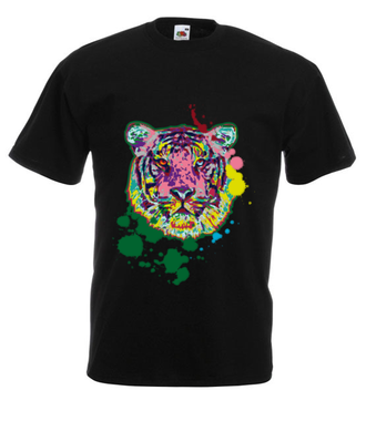 Print z kolorowym tygrysem - Koszulka z nadrukiem - Zwierzęta - Męska