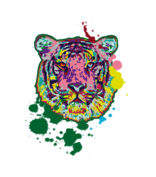 Print z kolorowym tygrysem grafika na koszulke dziecieca 418