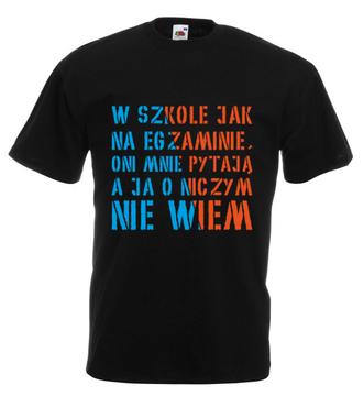 Nie pytaj, ja nie wiem - Koszulka z nadrukiem - Szkoła - Męska
