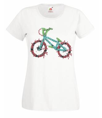 Rowerem przez świat - Koszulka z nadrukiem - Skate - Damska