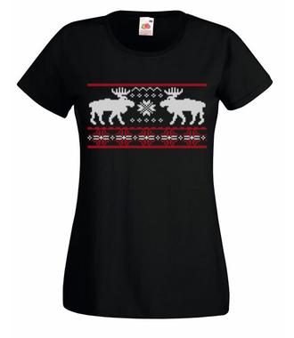 Skandynawskie święta - Koszulka z nadrukiem - Świąteczne - Damska