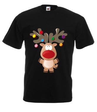 Ustrojony renifer - Koszulka z nadrukiem - Świąteczne - Męska