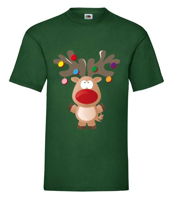 Ustrojony renifer koszulka z nadrukiem swiateczne mezczyzna werprint 497 188