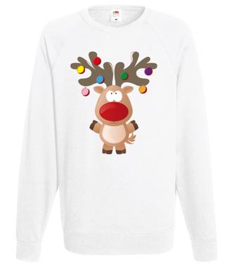 Ustrojony renifer - Bluza z nadrukiem - Świąteczne - Męska