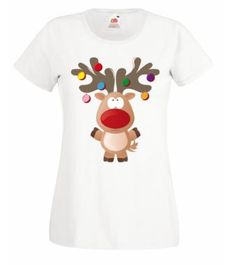 Ustrojony renifer - Koszulka z nadrukiem - Świąteczne - Damska