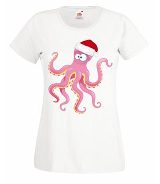 Ośmiornicze święta - Koszulka z nadrukiem - Świąteczne - Damska