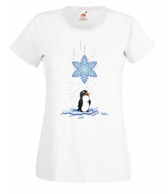 Pada śnieg, pada śnieg! - Koszulka z nadrukiem - Świąteczne - Damska