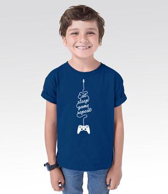 Jeść, grać, spać… - Koszulka z nadrukiem - dla Gracza - Dziecięca