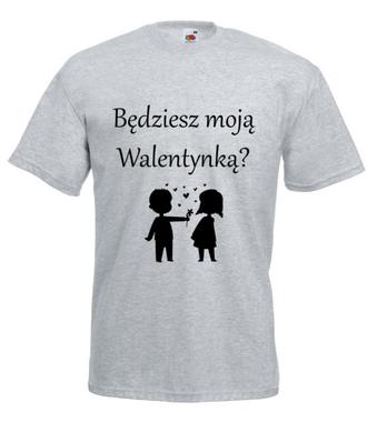 Chcę, byś była moją walentynką - Koszulka z nadrukiem - na Walentynki - Męska