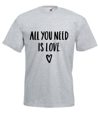 Wszystko, czego potrzebuję, to miłość - Koszulka z nadrukiem - na Walentynki - Męska