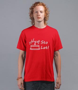 Sto lat! Zdmuchnij świeczki! - Koszulka z nadrukiem - Urodzinowe - Męska