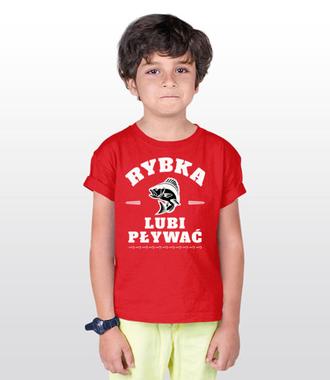 Rybka lubi pływać - Koszulka z nadrukiem - Wędkarskie - Dziecięca