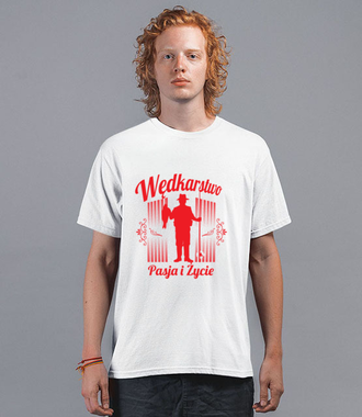 Pasją i życiem- wędkarstwo. - Koszulka z nadrukiem - Wędkarskie - Męska