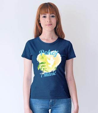 Pokój i miłość - Koszulka z nadrukiem - chrześcijańskie - Damska