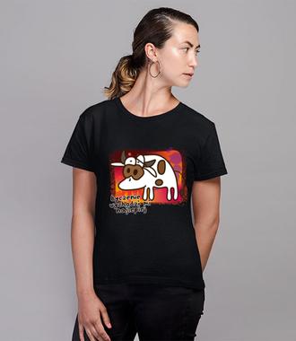 Krowa z humorem - Koszulka z nadrukiem - Zwierzęta - Damska