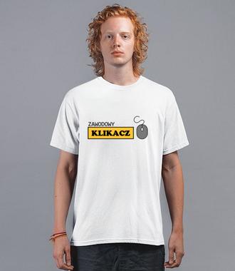 Zawodowy klikacz - Koszulka z nadrukiem - Praca - Męska