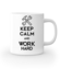 Keep calm work hard kubek z nadrukiem praca gadzety werprint 1035 159
