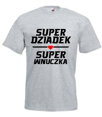 Super dziadek super wnuczka - Koszulka z nadrukiem - Dla Dziadka - Męska