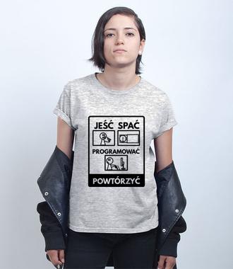 Nie zapomnisz rozkładu dnia - Koszulka z nadrukiem - Dla programisty - Damska