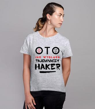 Koszulka z nadrukiem dla hakera? - Koszulka z nadrukiem - Dla programisty - Damska