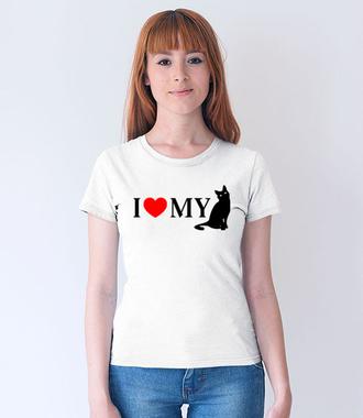 Kocham mojego kota - Koszulka z nadrukiem - Miłośnicy kotów - Damska