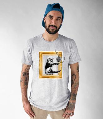 Kot w ramce vintage - Koszulka z nadrukiem - Miłośnicy kotów - Męska