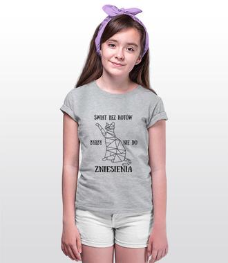 Świat bez kotów - Koszulka z nadrukiem - Miłośnicy kotów - Dziecięca