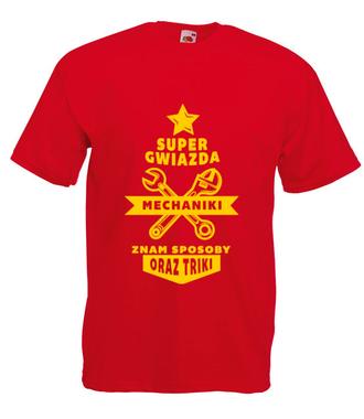 Super gwiazda mechaniki - Koszulka z nadrukiem - Dla mechanika - Męska