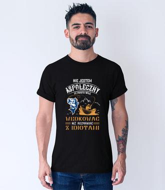 Sposób na dystans społeczny - Koszulka z nadrukiem - Wędkarskie - Męska