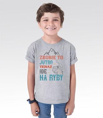 Niech wszystko poczeka, aż wrócisz z ryb - Koszulka z nadrukiem - Wędkarskie - Dziecięca